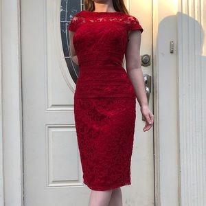 Tadashi Shoji red lace cap sleeve formal dress